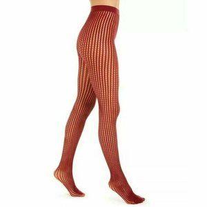 DKNY Small/Medium Fashion Net Tights Crimson Red